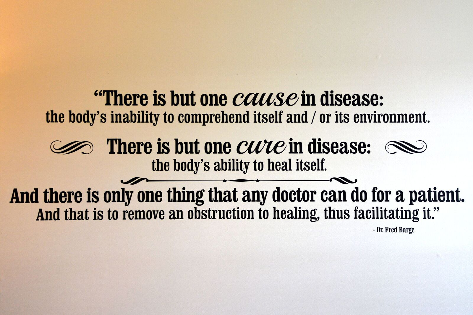 There is but one cause in disease: the body's inability to comprehend itself and/or its environment. There is but one cure in disease: the body's ability to heal itself. And there is only one thing that any doctor can do for a patient. And that is to remove an obstruction to healing, thus facilitating it. - Dr. Fred Barge
